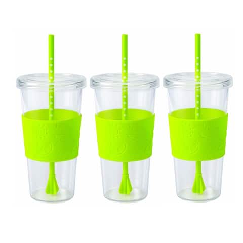 Copco Sierra On The Beach Tumbler With Spill Resistant Lid & Removable Straw - BPA Free Plastic 24 Oz - Pack Of 3 - Lime Green