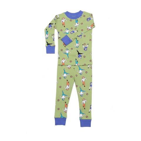 New Jammies Little Boys Green Football Tough Cotton 2 Pc Sleepwear Set 2T-7