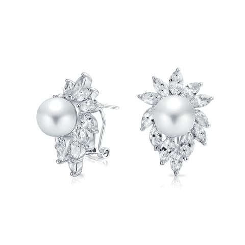 Leaf CZ White Imitation Pearl Stud Earrings Omega Silver Plated