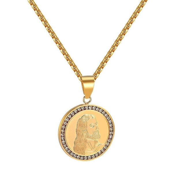 Jesus Face Coin Designer Pendant Christ Charm Gold Tone Stainless Steel Necklace