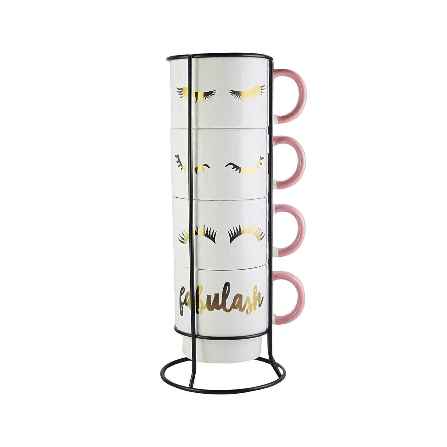 American Atelier Ceramic 4 14 Oz Mug Metal Rack Set For Tea Coffee White On Sale Overstock 30149982