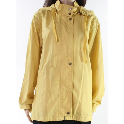 Caslon Canary Yellow Womens Size Large L Hooded Full Zipper Coat
