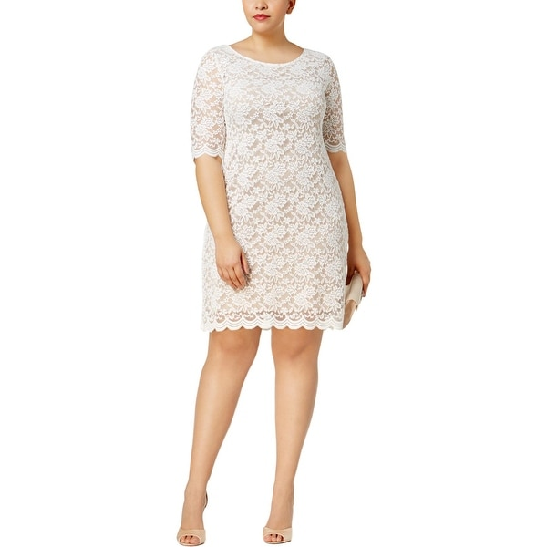 Connected Apparel Womens Plus Party Dress Lace Sheer