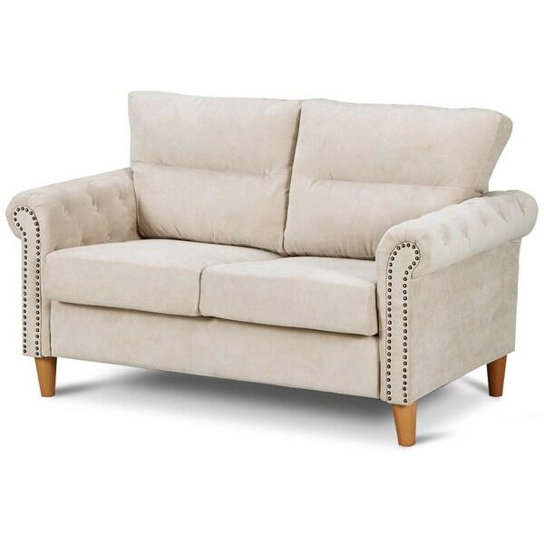 Modern Nailhead Sofa: Shop Costway Modern Linen Fabric Sofa Love Seat Couch