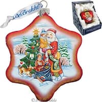 GDeBrekht 751-004R Holiday Joy Snowflake Red Glass Ornament