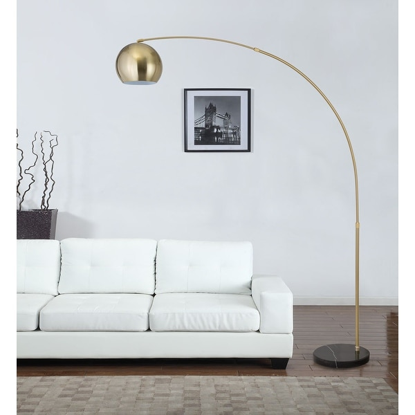 Q-Max Adjustable Floor Lamp with Metal Dome Shade and Black Marble Base in Brass Gold. Opens flyout.