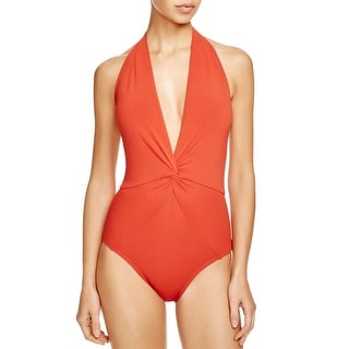 Robin Piccone Womens Gathered Halter One-Piece Swimsuit