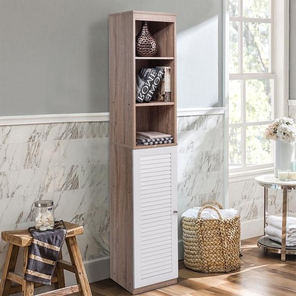 Costway 71u0026#x27;u0026#x27; Tall Wood Tower Bathroom Shelf Organizer Storage
