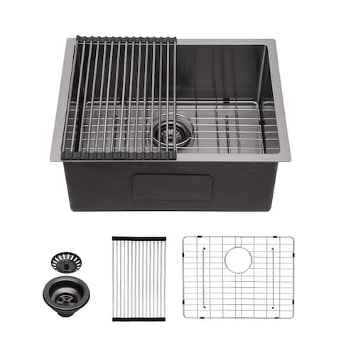 Kichae Stainless Steel 23 Inch Gunmetal Black Single Bowl Bar Prep Sink 16 Gauge Kitchen Sinks