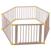 Costway Baby Playpen 6 Panel Foldable Wooden Frame Kids Safety Play Fence In/Outdoor