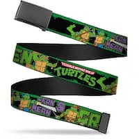 Blank Black  Buckle Classic Tmnt Logo Group Pose5 Lean Mean & Green Web Belt
