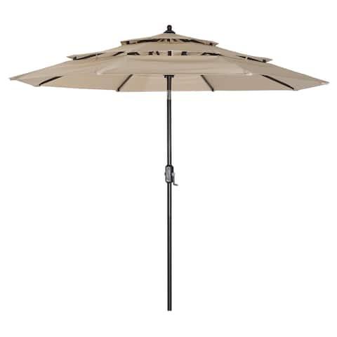3 Tiers Outdoor Patio Umbrella with Push Button Tilt