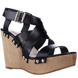 Fergalicious Libby Studded Platform Wedge Strappy Sandals - Black
