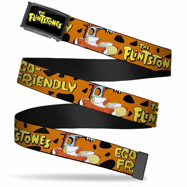 The Flintstones Logo Fcg Black Yellow Chrome Flintmobile Eco Friendly Web Belt