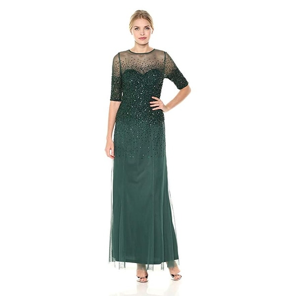 Shop Adrianna Papell 3 4 Sleeve Beaded Illusion Gown