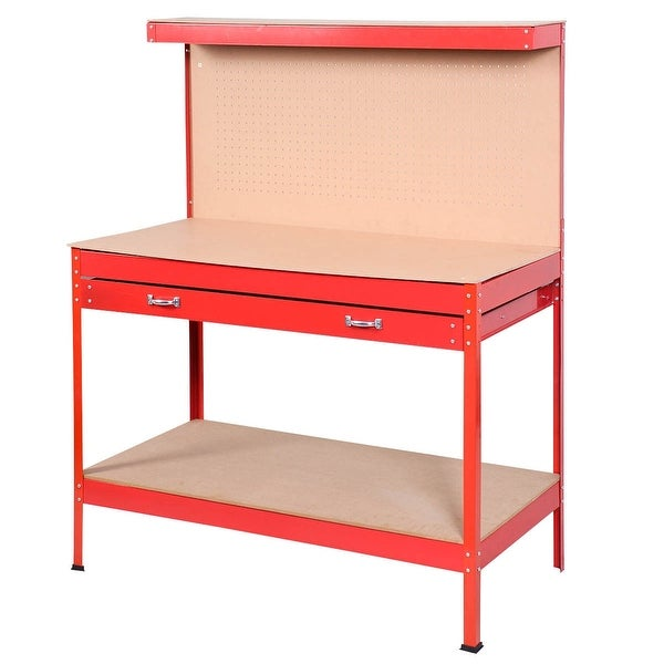 Steel Frame Storage Work Bench with Drawer-Red