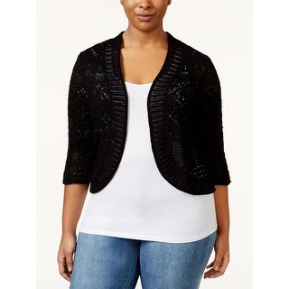 JM Collection Cropped Open-Front Cardigan, Deep Black, Size PL