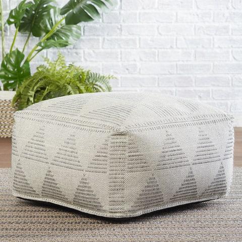 "Kenzo Indoor/ Outdoor Geometric Gray/ Cream Cube Pouf - 24""X24""X12.5"""