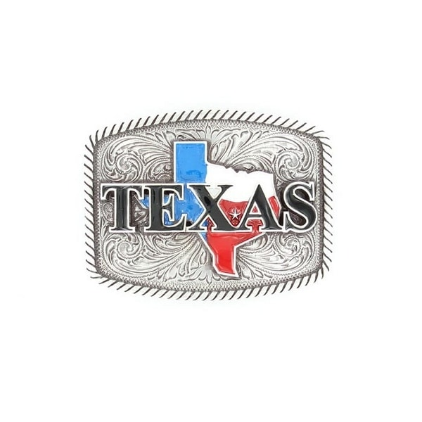 Nocona Western Belt Buckle Rope Texas 2.5 x 3.25 Silver - 2 1/2 x 3 1/4