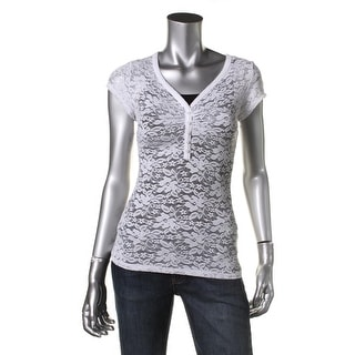 Guess Womens Lace Ruched Henley Top