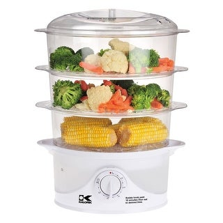 Kalorik 3-Tier Food Steamer - Electric Water Vapor Cooking Unit with Timer for Veggies, Fish and Rice - 9-Quart Capacity
