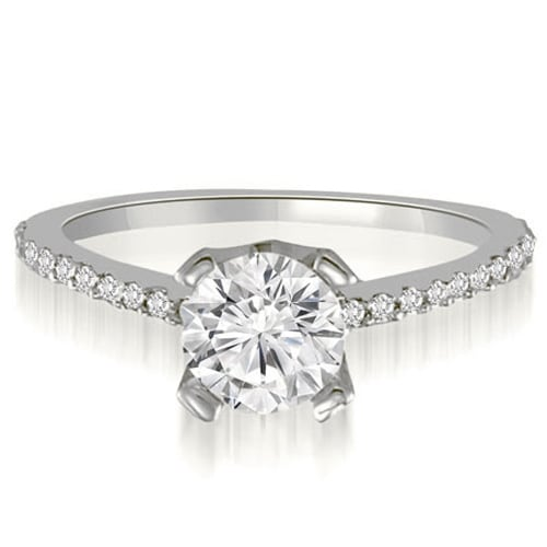 0.82 cttw. 14K White Gold Classic Petite Round Cut Diamond Engagement Ring