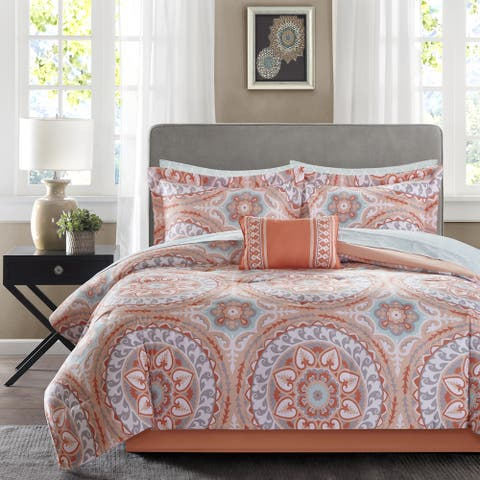 The Curated Nomad La Boheme Coral Complete Comforter and Cotton Sheet Set