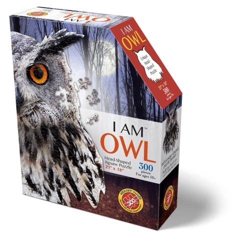Madd Capp Puzzles - I AM Owl - 300 Pieces - Animal Shaped Jigsaw Puzzle