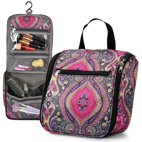 "Zodaca 11"" Purple Paisley Microfiber Fabric Cosmetic Make-up Bag for a business trip, travel and other outdoor activities"