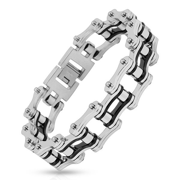 Motorcycle Chain with Black Inner Plate Link 316L Stainless Steel Biker Bracelet (19.9 mm) - 9 in