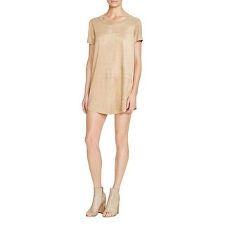 Olivaceous Womens Mini Dress Faux Suede Short Sleeves