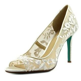 Betsey Johnson Adley Women  Open-Toe Canvas White Heels