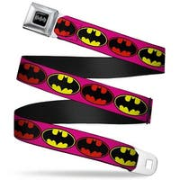 Batman Black Silver Batman Shield Fluorescent Pink Black Red Black Yellow Seatbelt Belt