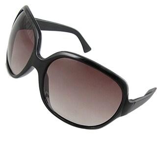 Sport Plastic Frame Oversize Lens Unisex Sunglasses Blk