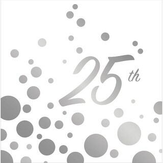 """Club Pack of 192 Sparkle and Shine Silver """"25th"""" Anniversary Paper Party Disposable 2-Ply Lunch Napkins 6.5"""""""