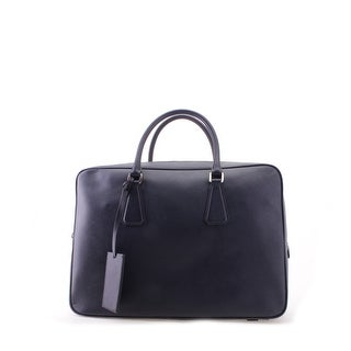 Prada Large Saffiano Leather Travel Shoulder Handbag - Black - L