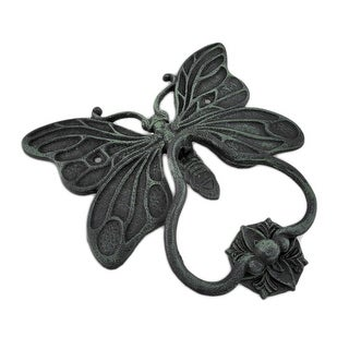 Cast Iron Butterfly Door Knocker and Strike Plate Verdigris Finish