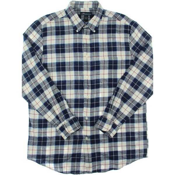 John Ashford Mens Button-Down Shirt Plaid Flannel