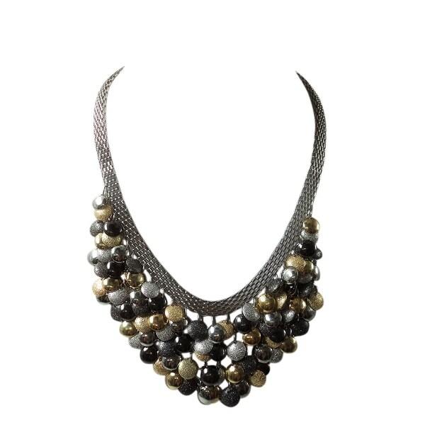 max & MO Multi Color Mini Bib Necklace - tri-tone