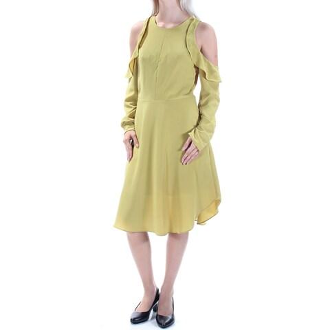 RACHEL ROY Womens Green Cut Out Ruffled Long Sleeve Jewel Neck Below The Knee Fit + Flare Dress Size: 2