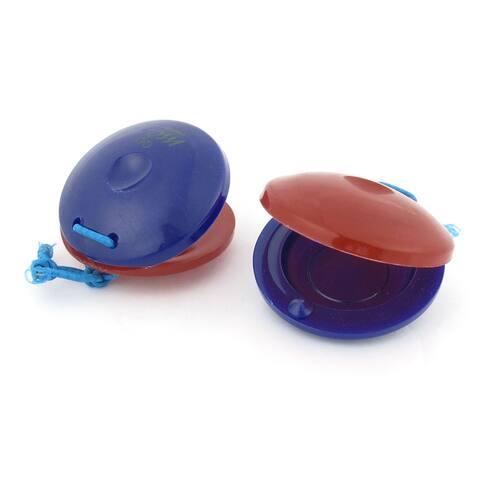 Unique Bargains 2 Pcs Kids Children Shell Shape Finger Castanets Toy Blue Red
