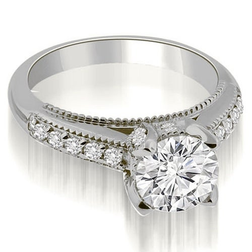 1.30 cttw. 14K White Gold Cathedral Milgrain Round Cut Diamond Engagement Ring