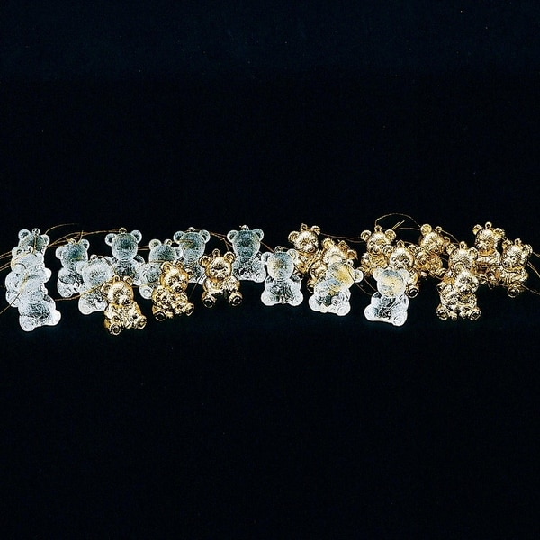 Pack of 96 Clear & Gold Assorted Styles Acrylic Teddy Bear Ornaments 1.5""