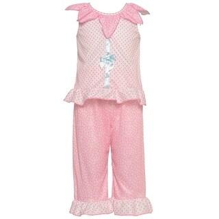 Laura Dare Little Girls Pink Petal Ruffle Ribbon Bow 2 Pc Pajama Set 2T