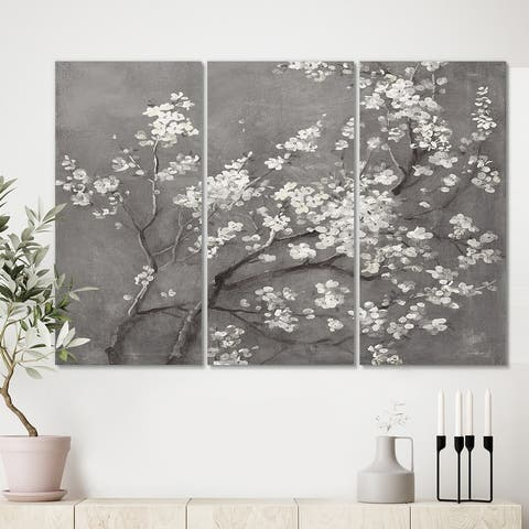 Designart 'White Cherry Blossoms I' Traditional Gallery-wrapped Canvas