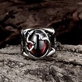 Vienna Jewelry Abstract Ruby Red Stainless Steel Ring - Thumbnail 1