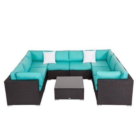 Kinbor 9-piece Outdoor Furniture Patio Sectional Sofa All-weather Rattan Wicker Chat Set w/Cushions