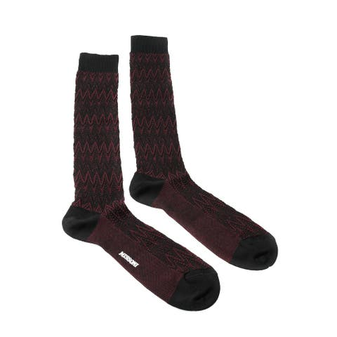 Missoni GM00CMU5239 0004 Marron/Black Chevron Knee Length Socks