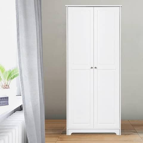 Double Door Five-tier Wardrobe Storage Cabinet White