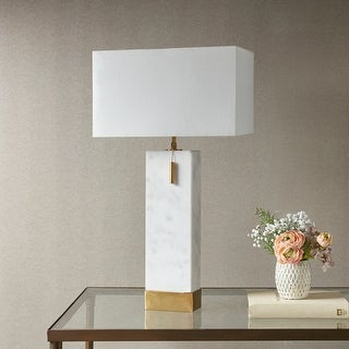 Bringham White/ Gold Large Table Lamp by Hampton Hill